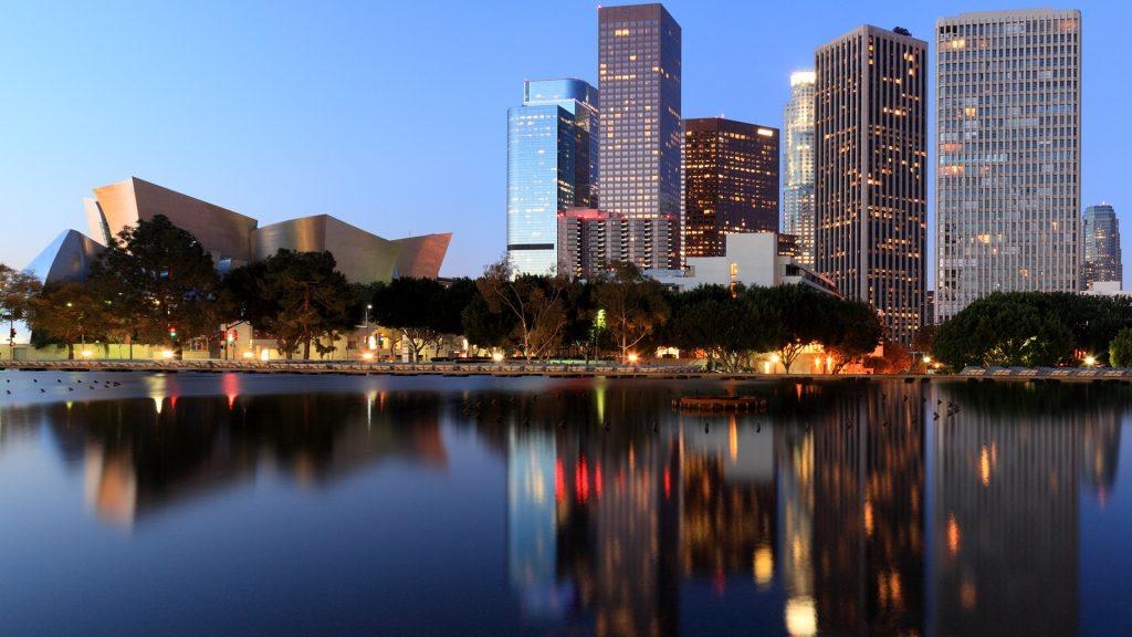 Downtown Los Angeles including Walt Disney Concert Hall, California, USA