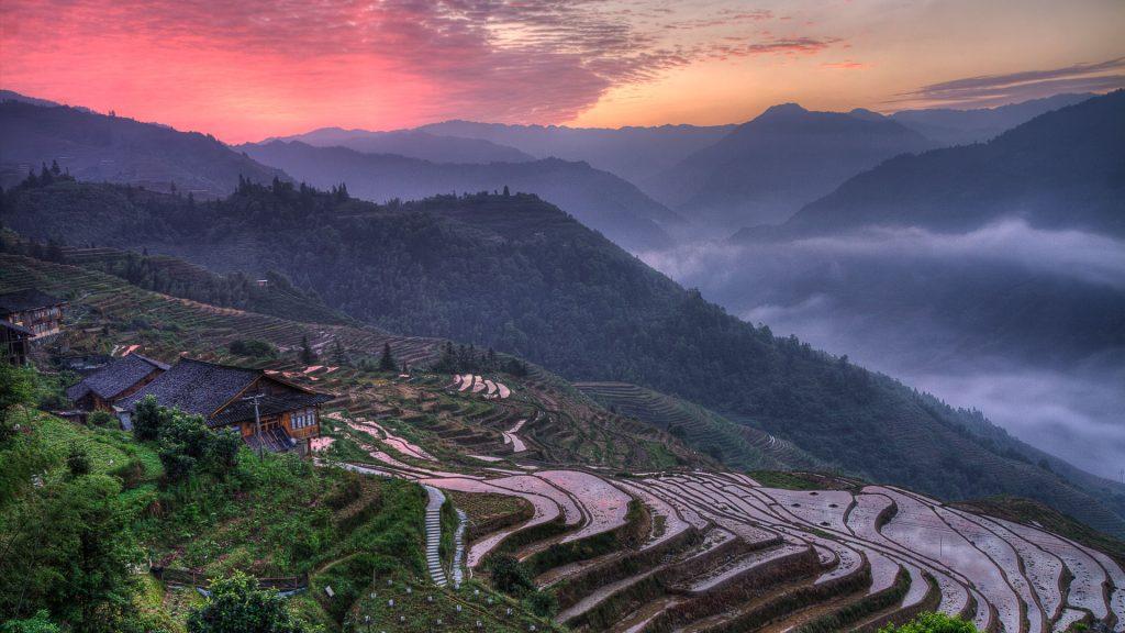 Sunrise at Longji Old Village, Longsheng County, Guilin, Guangxi, China