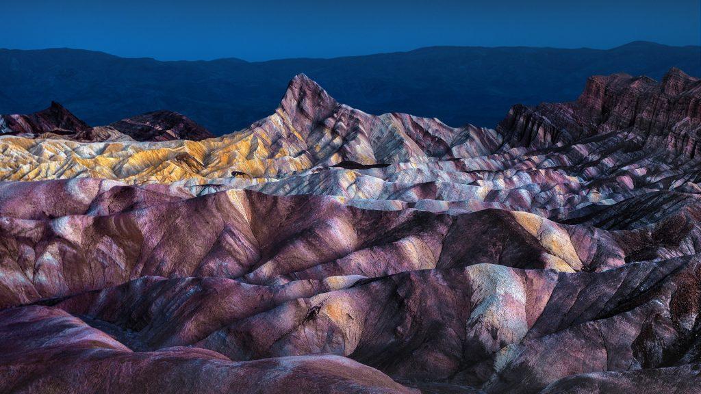 Zabriskie Point with Panamint Range in distance, Death Valley, Mojave Desert, California, USA