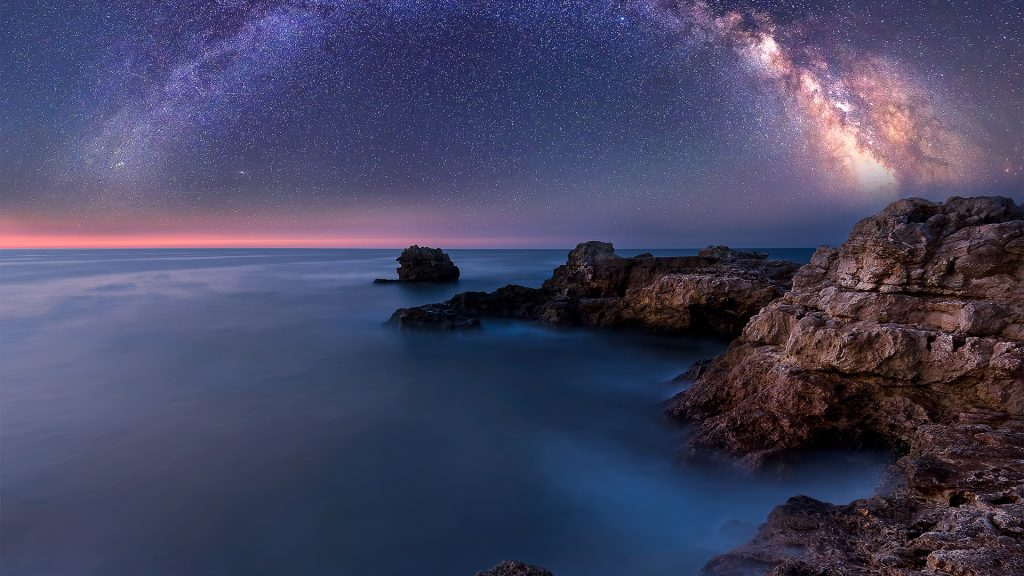 Night landscape with Milky Way Galaxy above the Black sea, Bulgaria