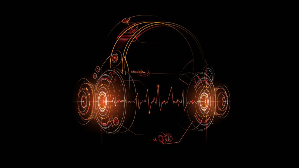 Headphones futuristic illustration on black background