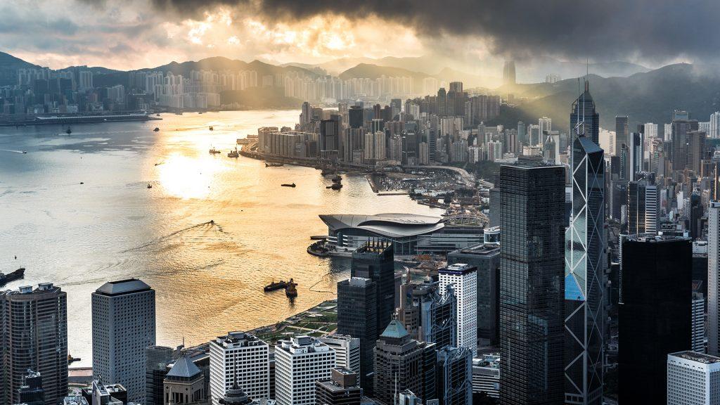 Morning in Hong Kong from Victoria peak, China