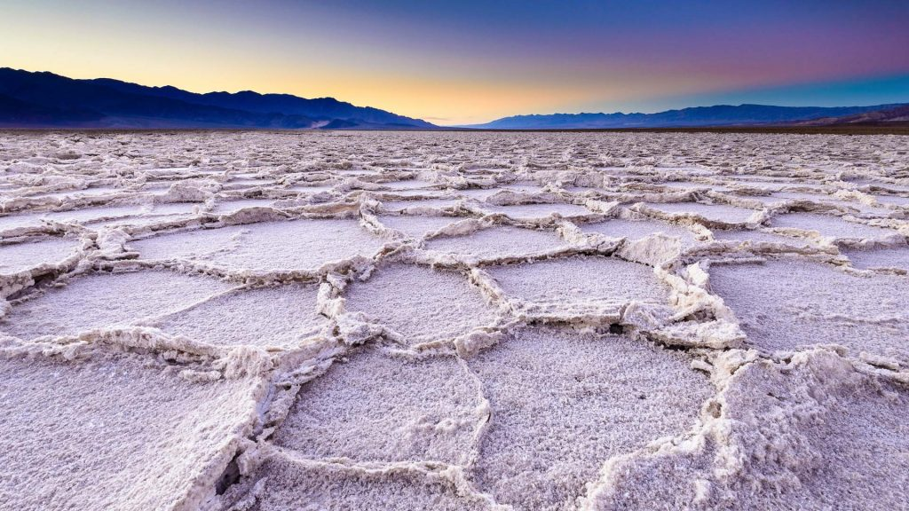 A unique salt flat landscape Badwater basin at Death Valley National Park, California, USA