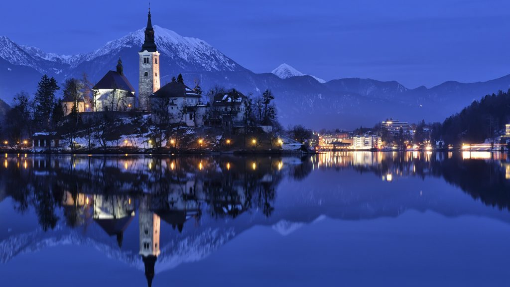 Bled Blue Hour, winter panorama Bled, Slovenia