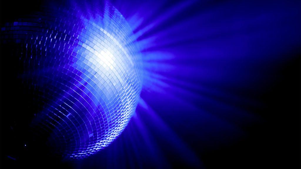 Blue shiny disco mirror ball