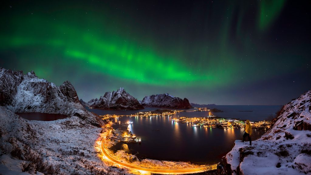 Northern lights over Reine, Lofoten Islands, Norway