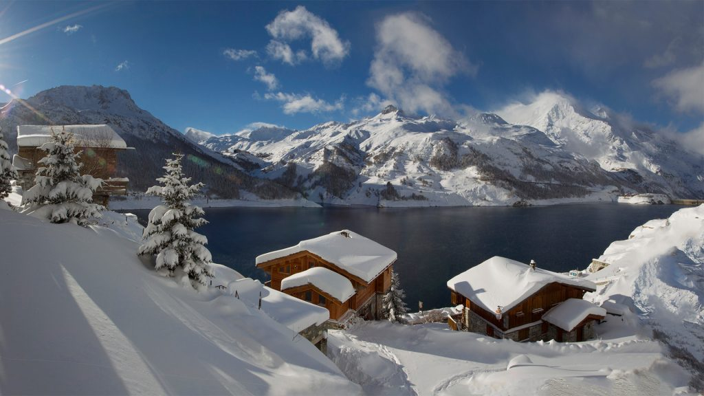 Inspirational winter mountain view over Lac du Chevril, Villaret du Nial, Tignes, France