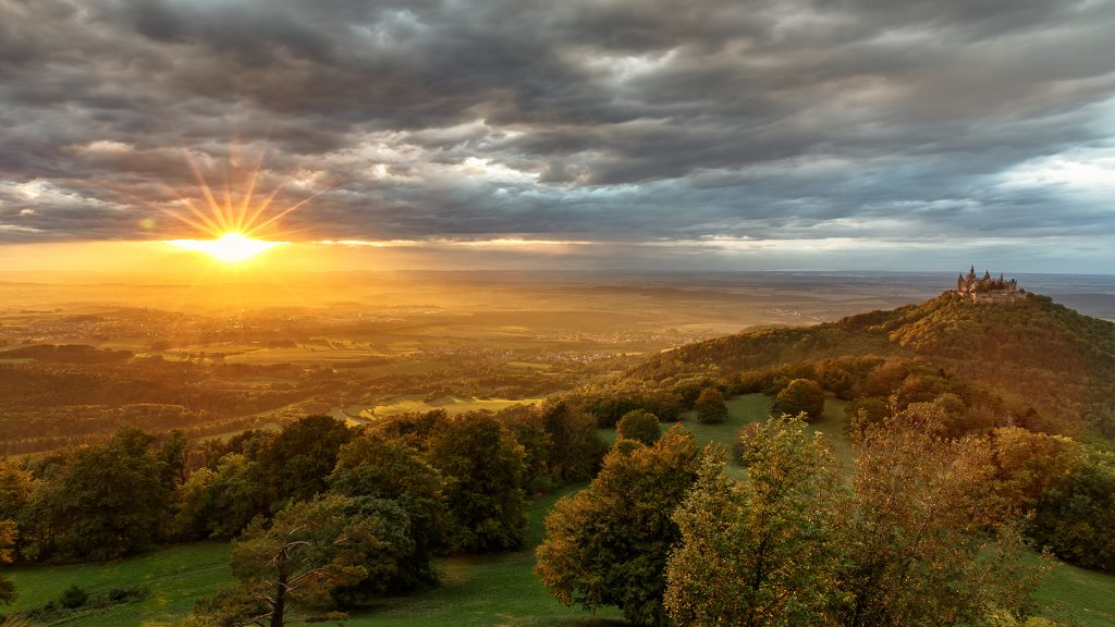 Dramatic sunset in late summer, Hohenzollern Castle, Baden-Württemberg, Germany