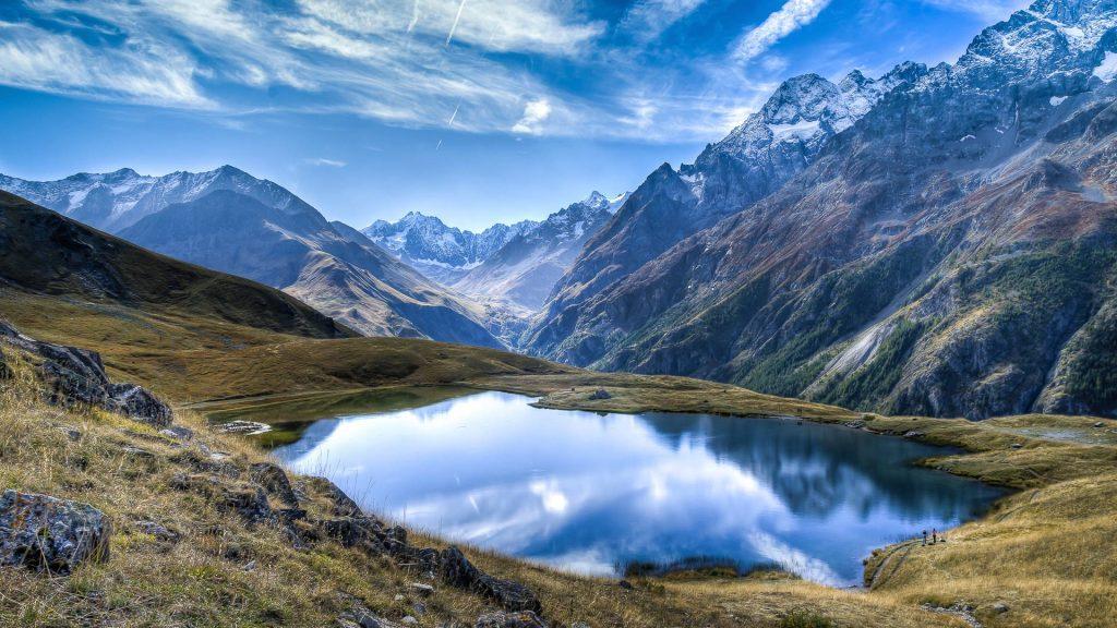 Mountains surrounding the Lac du Pontet, near Villar-d'Arène, Hautes-Alpes, France