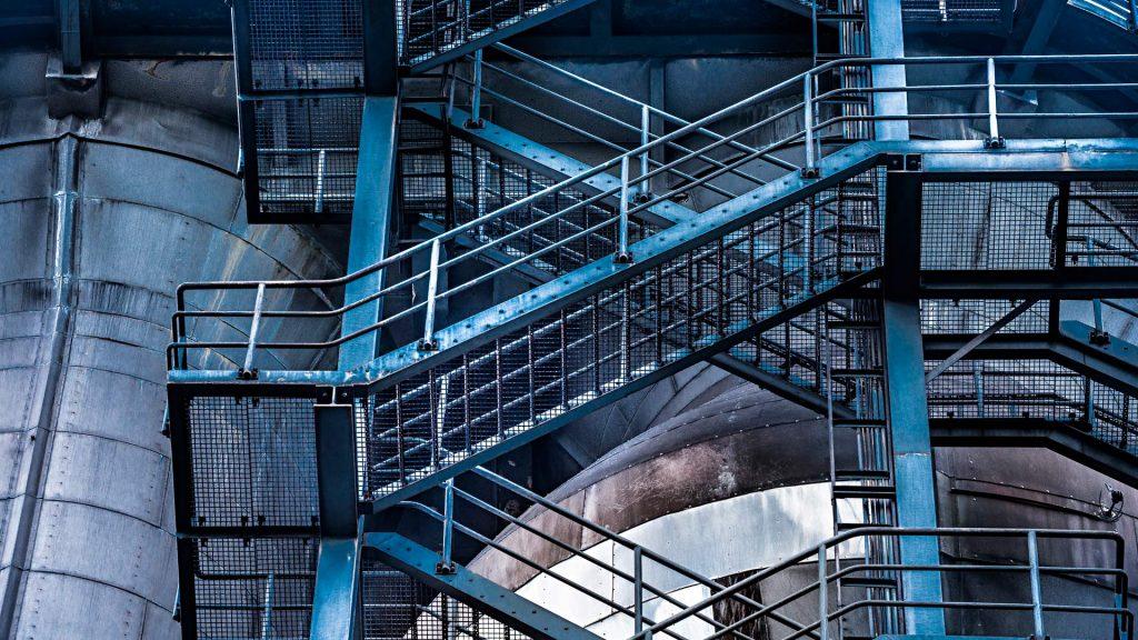 Metal stairs on industrial building