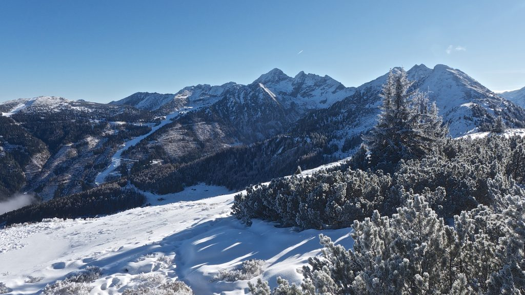 Snowcapped mountains against clear sky, Schladming, Austria