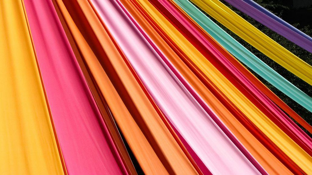 Stripes of colorful textiles, Lisbon, Portugal