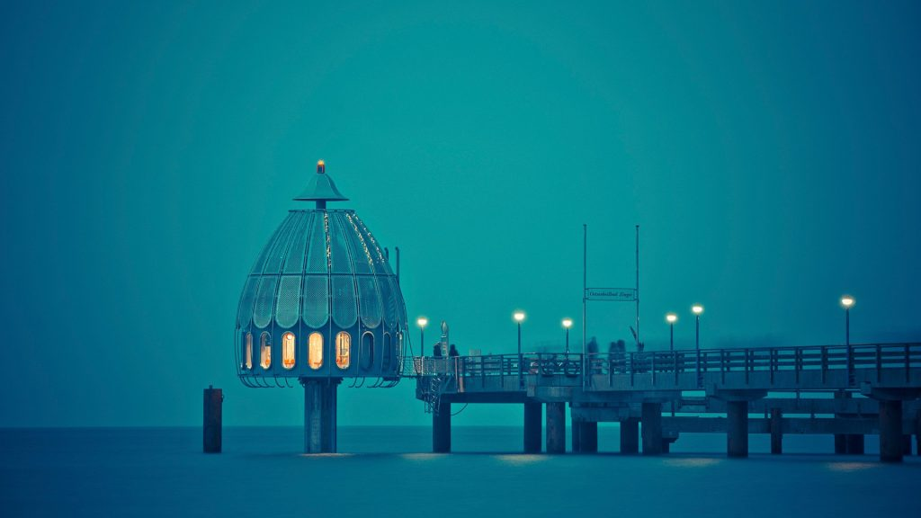 Diving bell Tauchgondel on pier in Zingst, Germany
