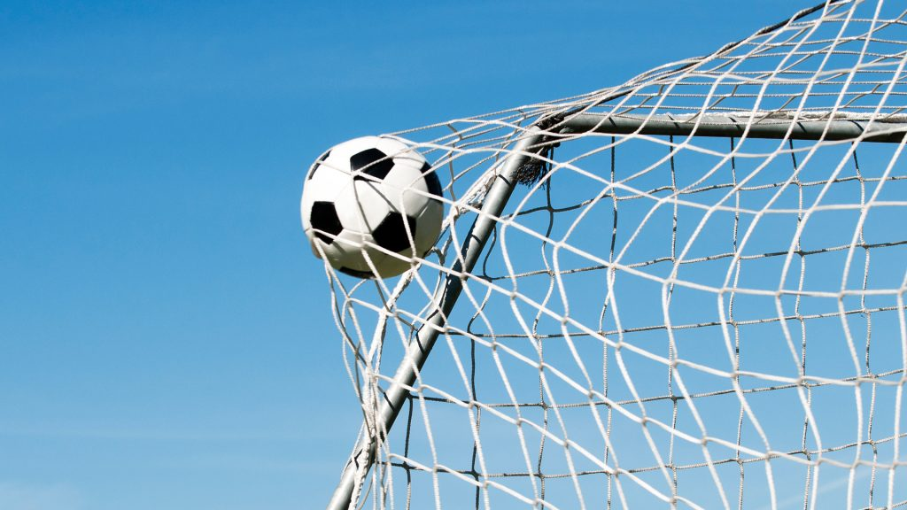 Soccer ball hits the net and makes a goal