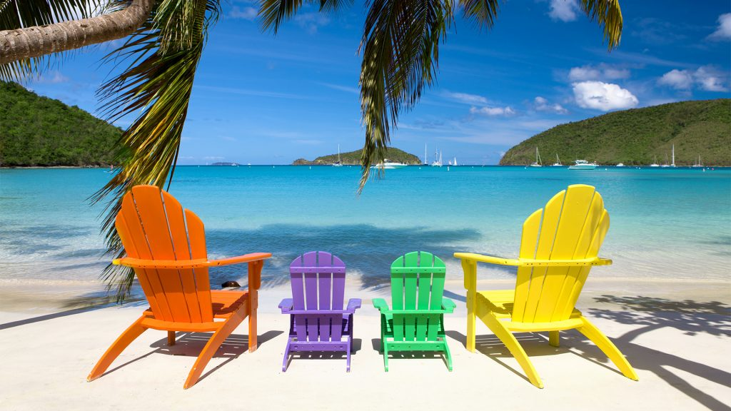 Andirondack chairs for a family vacation at a beach in the Caribbean, Saint John, Virgin Islands, USA