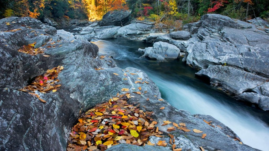 "Entrance to ""Seven Foot Falls"" on Chattooga river in autumn, North Carolina, USA"