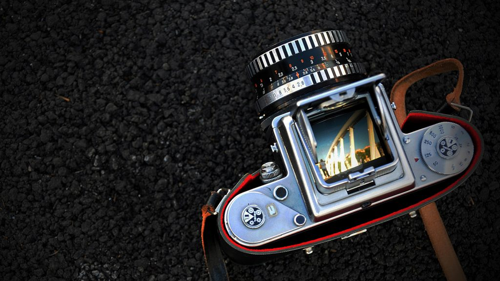 Overhead view of classic camera, Rome, Italy