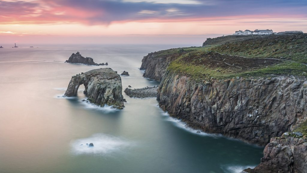 Sunset at Land's End, Cornwall, England, UK