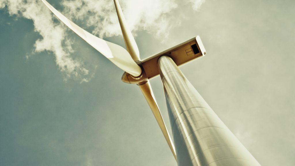 Wind turbine with green sky