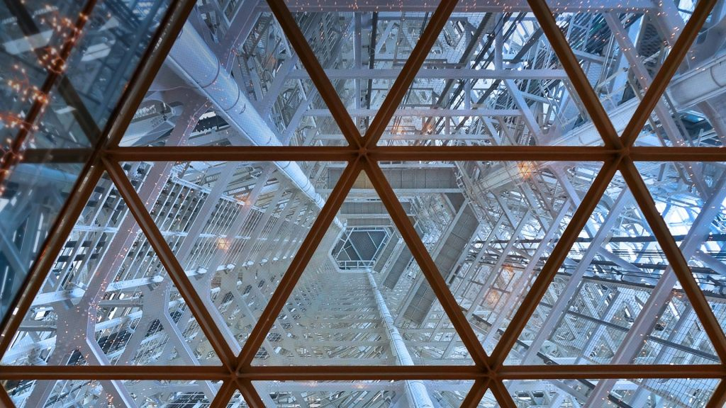 Interior view of Fukuoka Tower, located in the Momochihama area, Japan