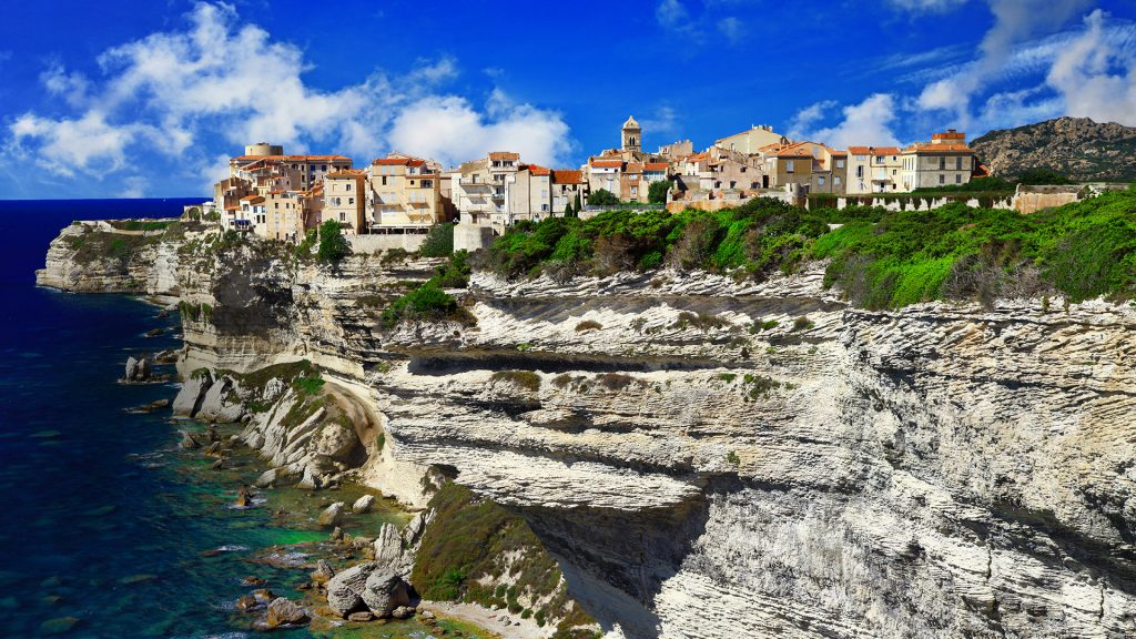 Upper town of Bonifacio on a chalkstone sea cliff, Corsica, France