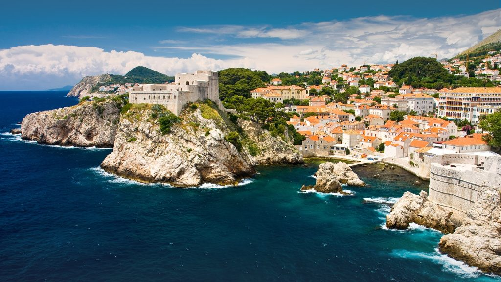 The old city with red roofs at Adriatic Sea, Dubrovnik, Dalmatia, Croatia