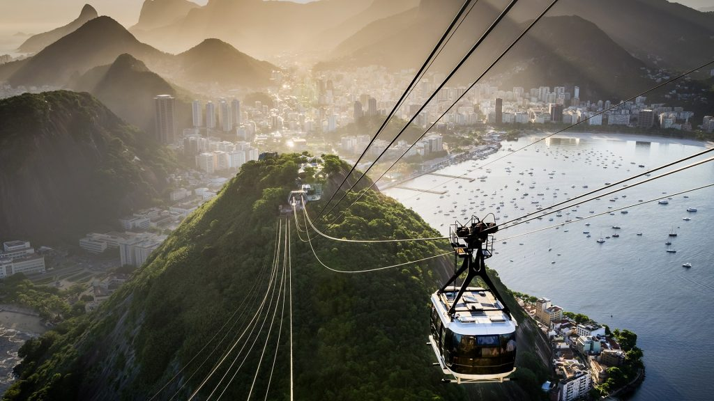 Cable car going towards the top of Sugarloaf Mountain in Rio de Janeiro, Brazil