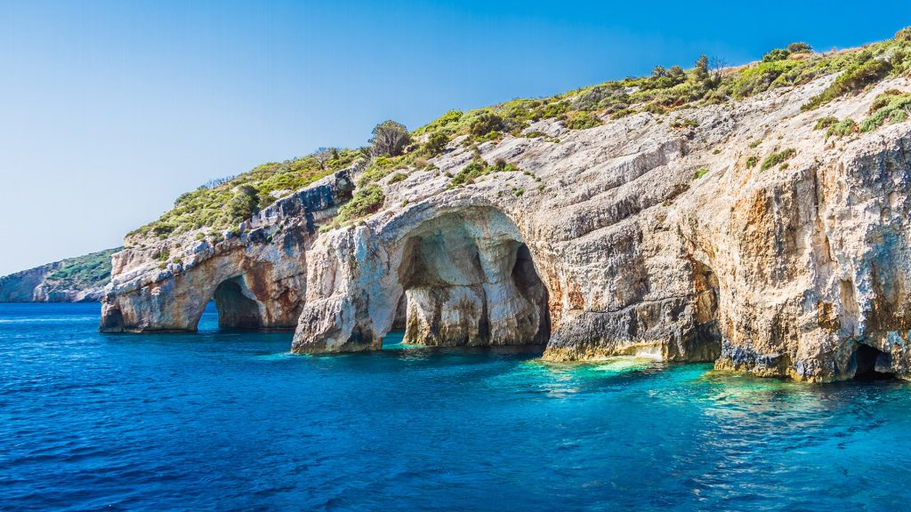 Blue caves with crystal clear waters on Zakynthos island, Greece