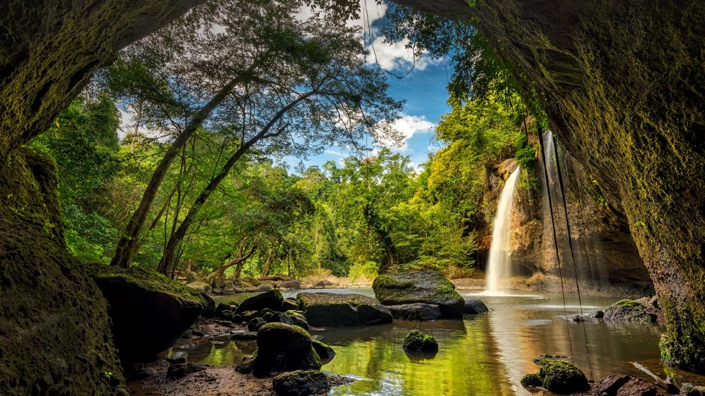 Waterfalls in deep forest at Haew Suwat Waterfall in Khao Yai National Park, Thailand
