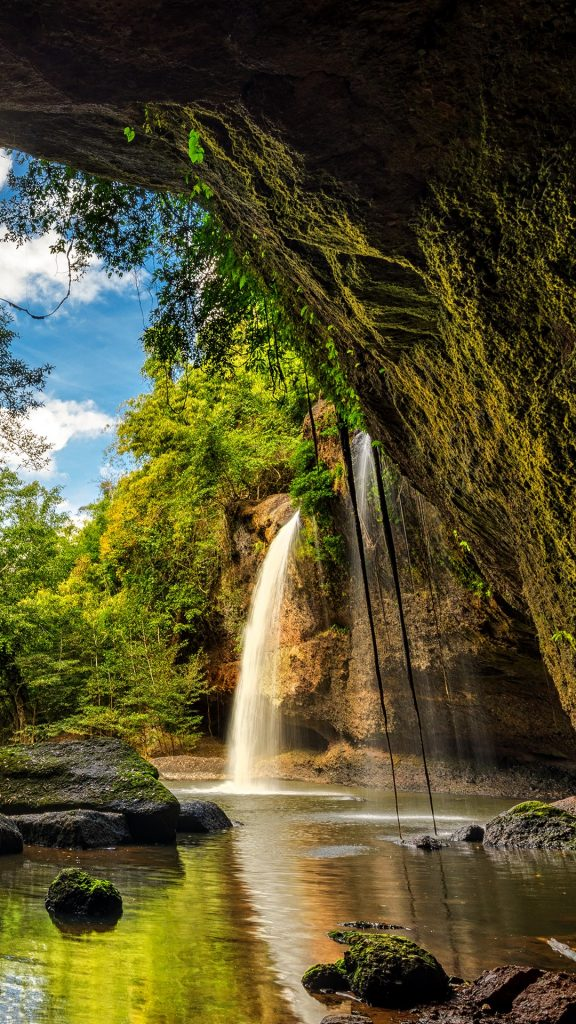Waterfalls In Deep Forest At Haew Suwat Waterfall In Khao