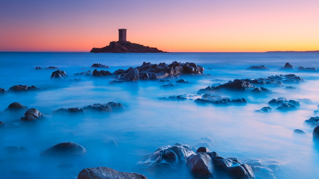 Ile d'Or Island at sunset, Le Dramont, Cote d'Azur, France