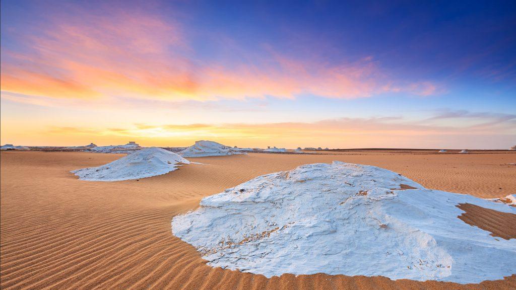 Sunset over The Western Sahara Desert in Africa, Egypt