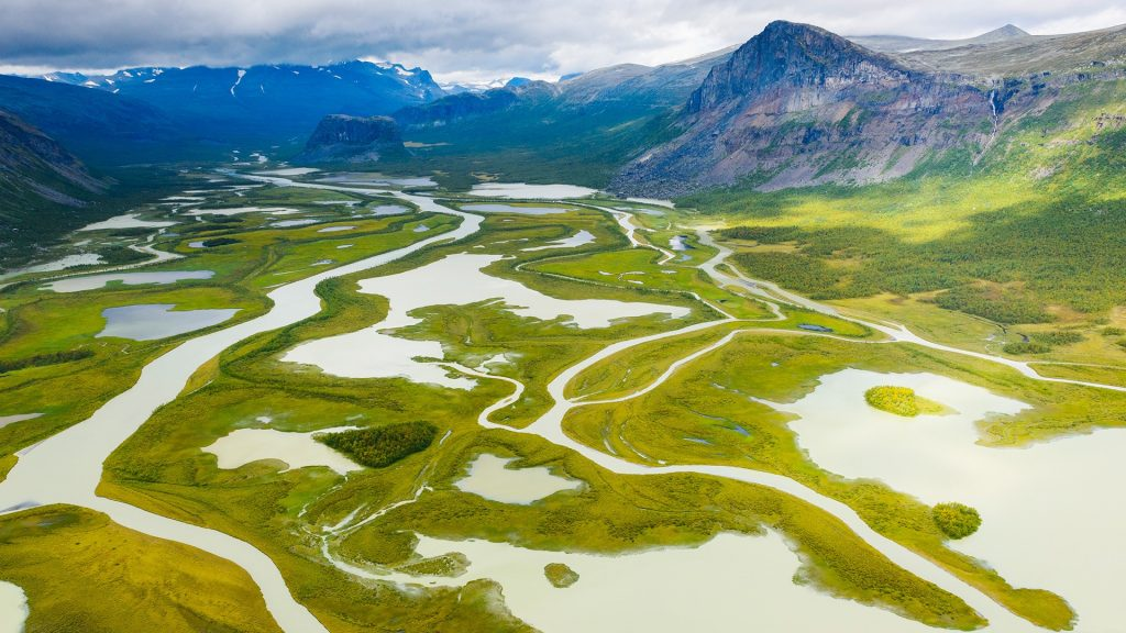 Aerial view of river, Sarek National Park, Sweden