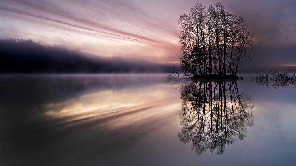 Sunrise over lake Finnsjön, Mölnlycke, Sweden