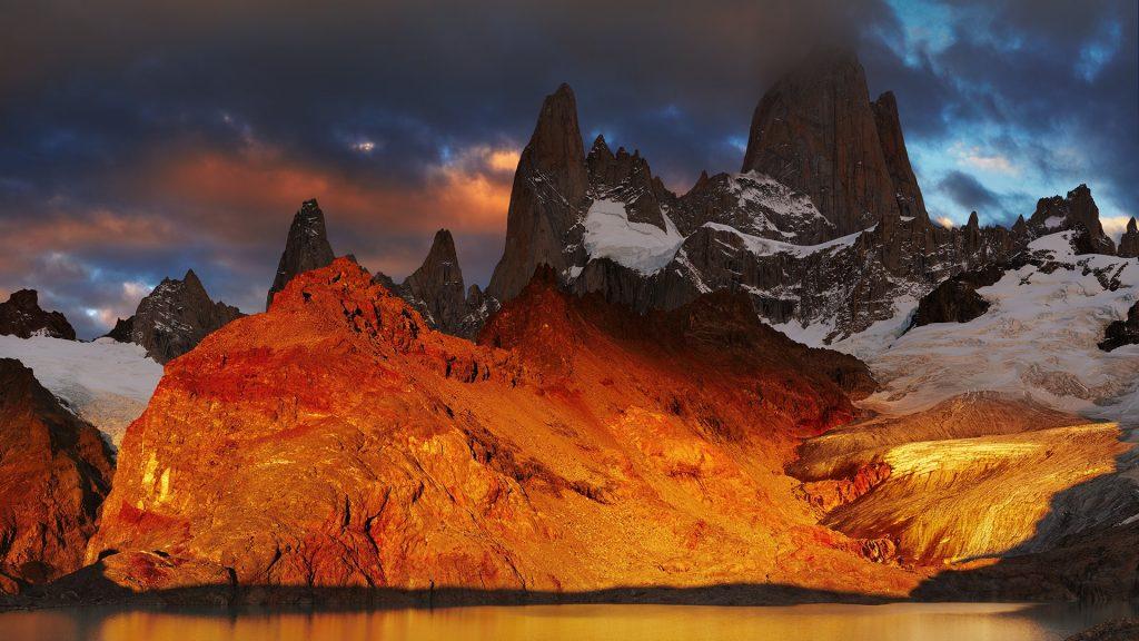 Laguna de Los Tres and mount Fitz Roy dramatical sunrise, Patagonia, Argentina
