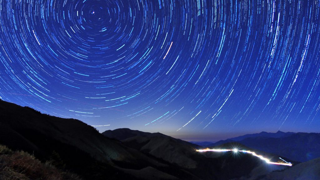 Star trails at Mount Hehuan (Hehuanshan), Nantou, Taiwan