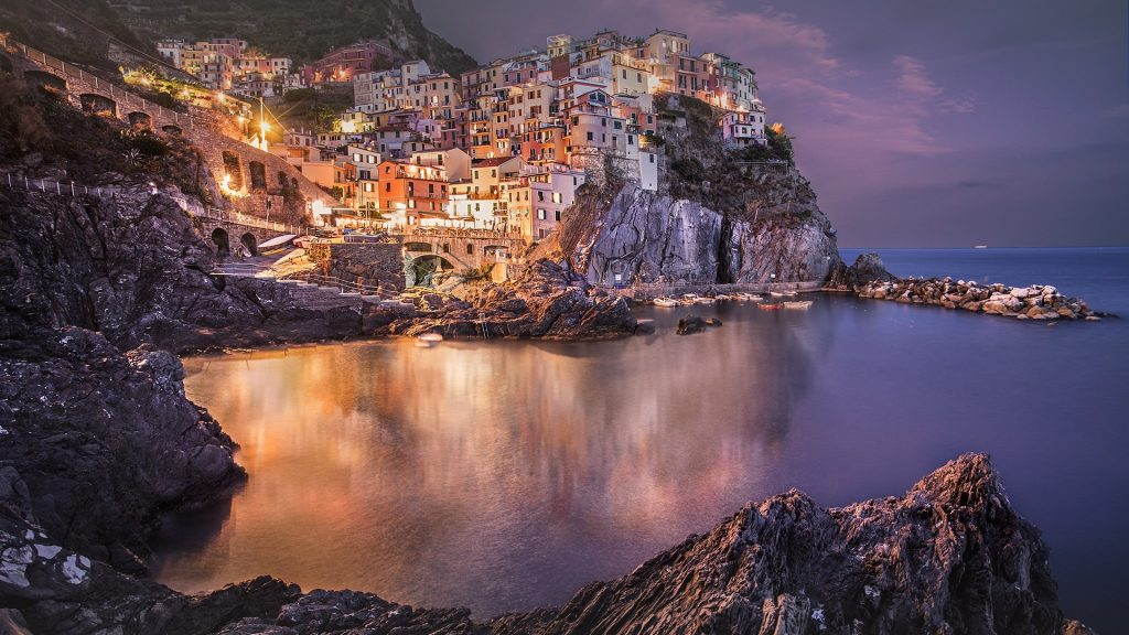 Manarola night, the second smallest of Cinque Terre towns, Italy