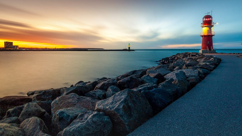 Sunset over Warnemünde and the Warnow river, Germany