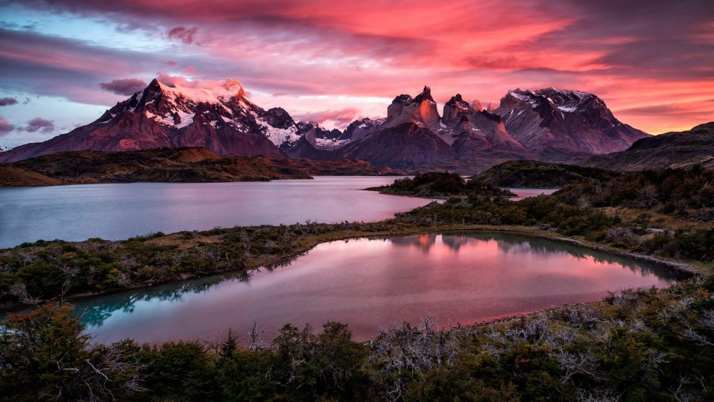An elevated view of Lake Pehoé and Cuernos, Torres del Paine National Park, Chile
