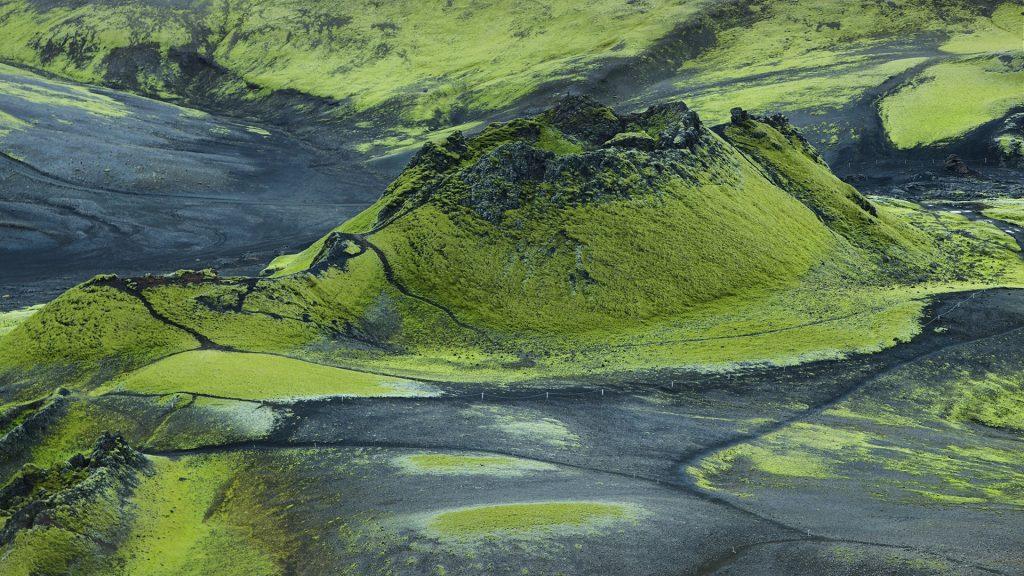Volcanic landscape in Lakagigar, Iceland highlands