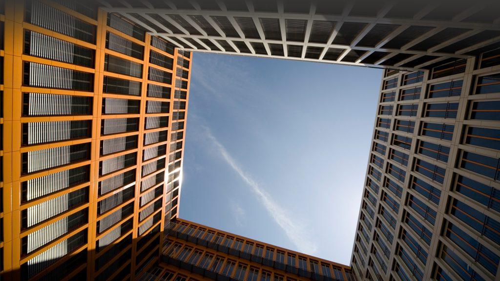 Office building against clear sky