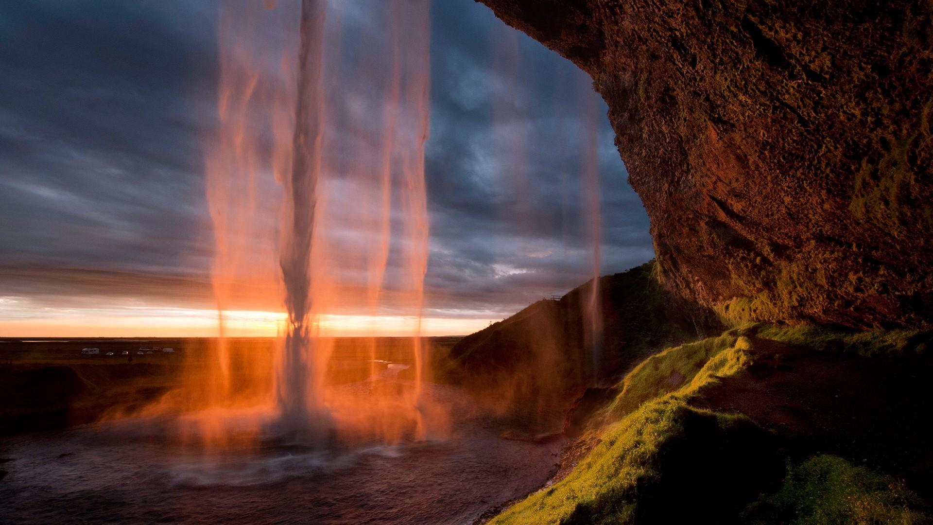 Водопад закат загрузить