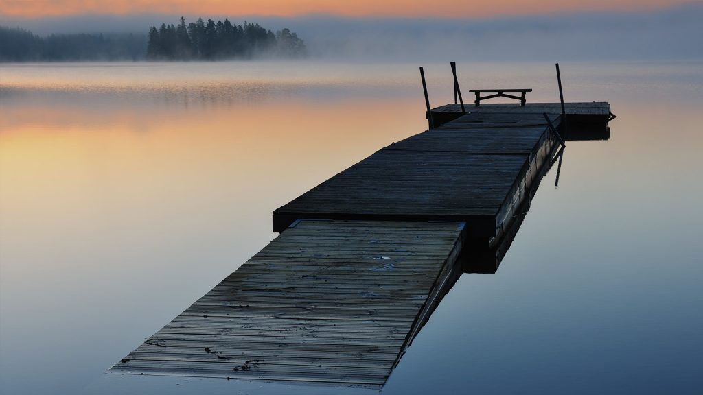 Raft on lake, Åtvidaberg, Östergötland, Sweden