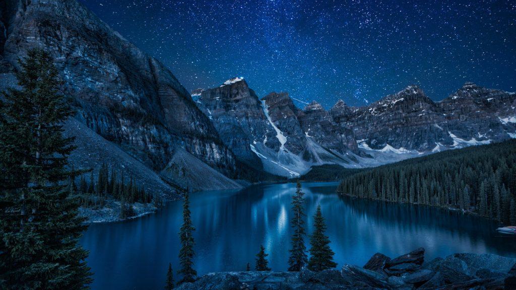 Night skies over Moraine Lake, Banff National Park, Alberta, Canada