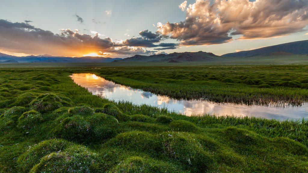 Sunrise on the river, Iceland