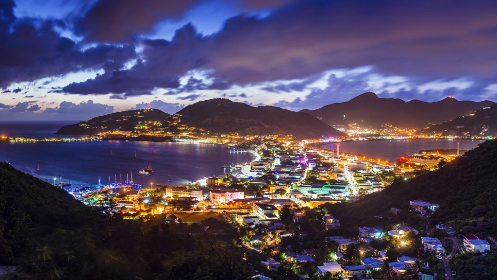 Dutch Antilles cityscape at the Great Salt Pond, Philipsburg, Sint Maarten