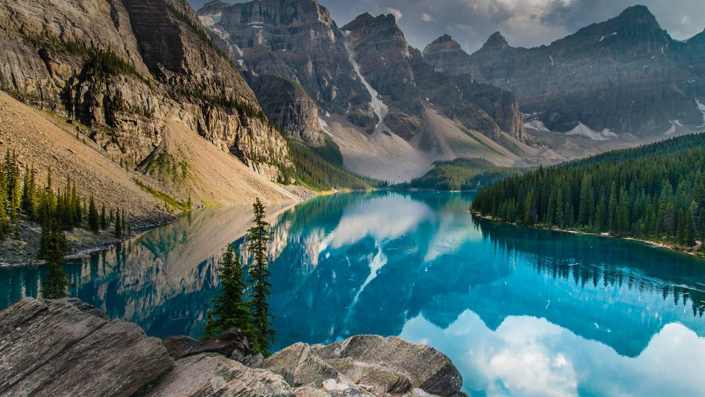 A summer evening at Moraine Lake, Banff National Park, Alberta, Canada