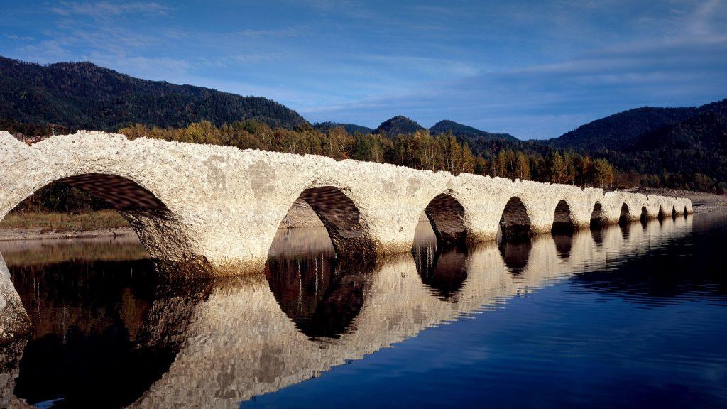 Taushubetsu bridge at Lake Tobira in Kamishihoro, Hokkaido, Japan