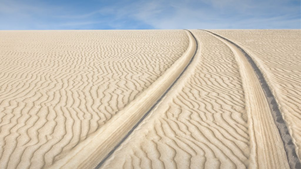 Track of a vehicle on the dunes of Jericoacoara National Park, Ceará, Brazil