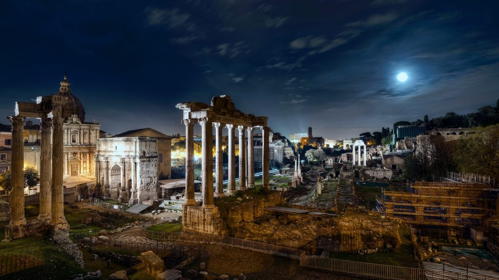 Full Moon over Roman Forum, Rome, Italy